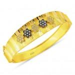 çiçekli kalın altın bilezikler