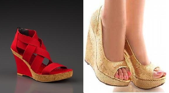 sarı kırmızı dolgu topuk ayakkabılar
