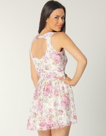 2012 çiçekli sırt dekolteli kısa elbiseler