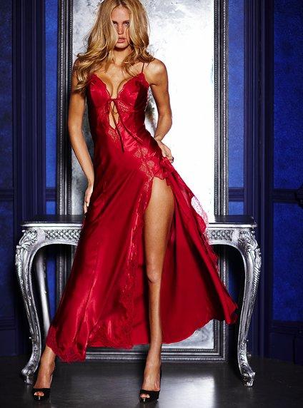 Victorias Secret dekolte uzun yirtmacli gecelikler Birbirinden Güzel Saten Gecelikler 26