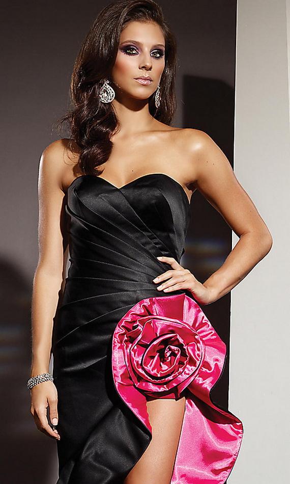 bacak dekolteli etegi gul detayli abiye kiyafetler Yeni Trend Siyah Gece Elbiseleri 11