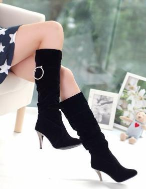 bayan siyah suet cizme modeli 1 Yeni Tend Topuklu Bayan Çizme Modelleri 13
