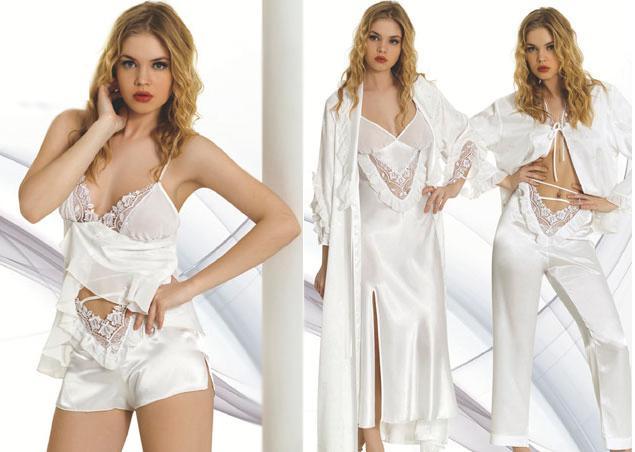 beyaz ceyizlik modern sik gecelik takimlari1 Sabahlıklı Saten Gecelik Takımı Modelleri 1