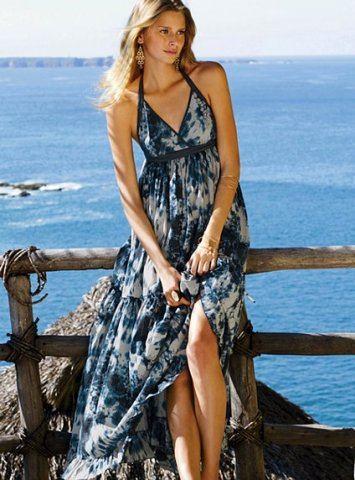 boyundan baglamali dekolte uzun elbise modelleri En Güzel Maxi Elbise Modelleri 5