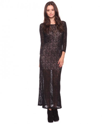 dantel uzun kollu uzun elbise modelleri En Güzel Maxi Elbise Modelleri 7