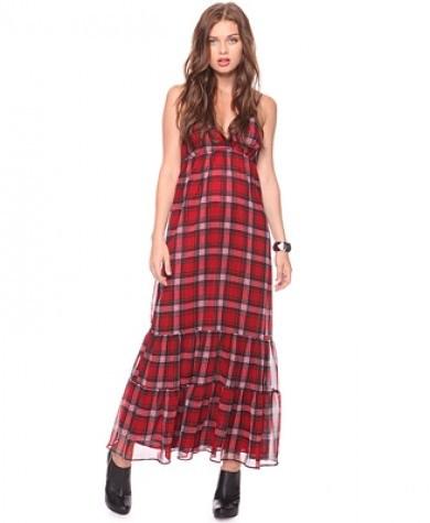ekose desenli uzun elbise modelleri En Güzel Maxi Elbise Modelleri 8