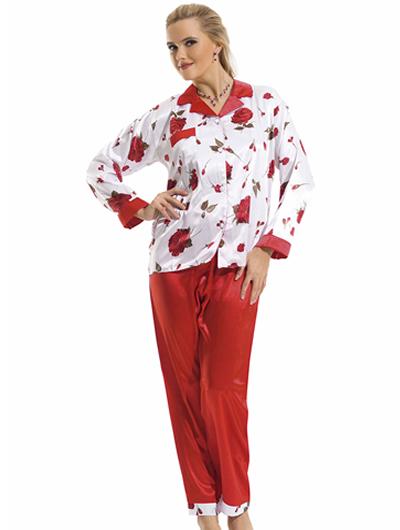 en guzel kirmizi ipek pijama takimlari1 Sabahlıklı Saten Gecelik Takımı Modelleri 3