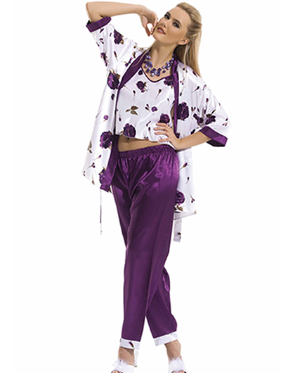 en guzel sabahlikli saten pijama takimlari1 Sabahlıklı Saten Gecelik Takımı Modelleri 4