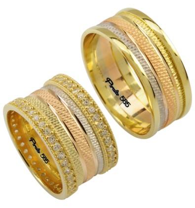 farkli alyans ornekleri Evliliği Simgeleyen Kalın Altın Alyans Örnekleri 11