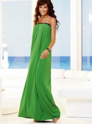 fistik yesili straplez uzun elbise modelleri ornekleri En Güzel Maxi Elbise Modelleri 10