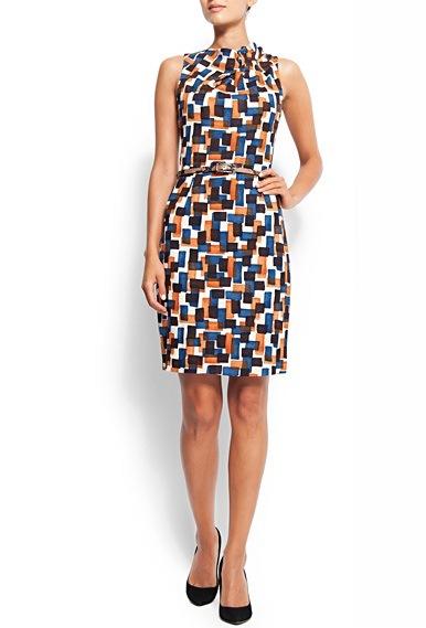 geometrik desenli kolsuz elbise ornekleri Birbirinden Güzel Mango Bahar Koleksiyonu 1