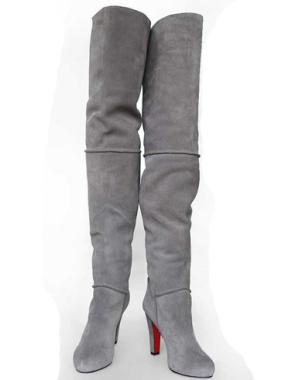 gri suet topuklu cizme ornekleri Yeni Tend Topuklu Bayan Çizme Modelleri 19