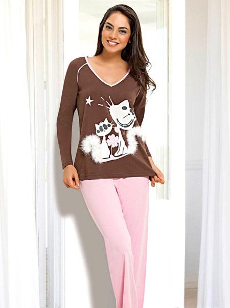 kahverengi kedi desenli tuylu piyama takimlari En Güzel Bayan Penye Pijama Takımları 3