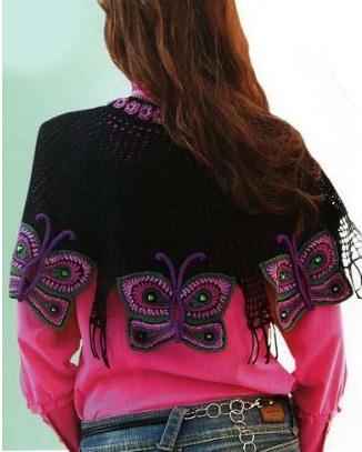 kelebek motifli farkli siyah sal modelleri Trend En Güzel Örgü Şal Modelleri 6