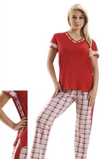 kirmizi v yaka bluz ve kareli pijama modelleri En Güzel Bayan Penye Pijama Takımları 4