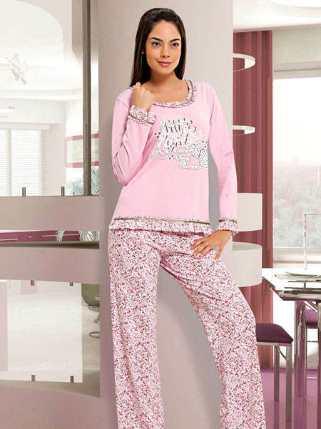 kucuk cicek desenli pembe pijama takim modelleri En Güzel Bayan Penye Pijama Takımları 5