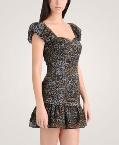 leopar desenli mini kollari buzgulu mini elbise Desen Desen En Şık Yazlık Bayan Elbise Modelleri 16