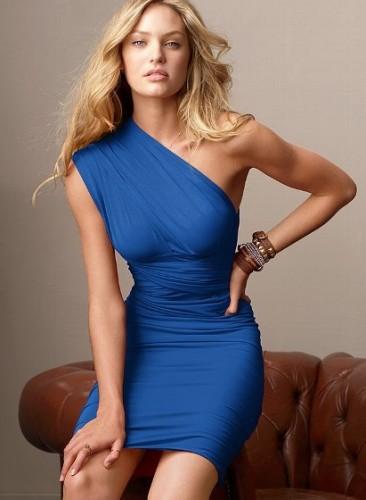 mavi buzgulu tek omuz mini elbise modelleri Desen Desen En Şık Yazlık Bayan Elbise Modelleri 17