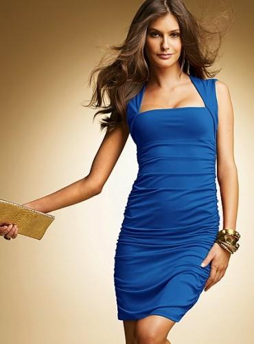 mavi yarim kollu dar gece elbisesi Yaz Aylarının Vazgeçilmezleri Kısa Elbiseler 22