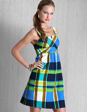 mavi yesil kareli askili yeni sezon modern elbiseler Desen Desen En Şık Yazlık Bayan Elbise Modelleri 18