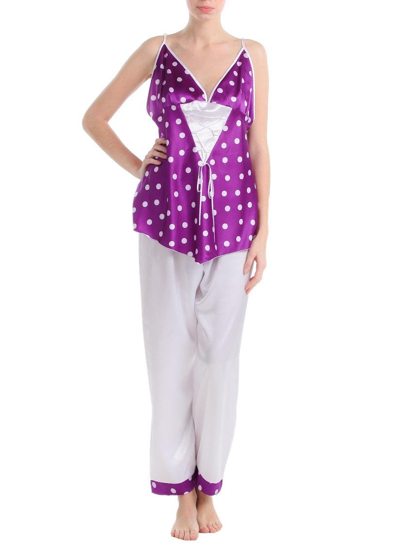 mor beyaz puantiyeli saten pijama takimlari En Güzel İpek Pijama Takımları 14