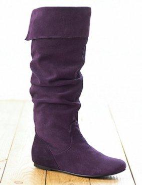 mor uzun suet cizme modeli1 Yeni Tend Topuklu Bayan Çizme Modelleri 2