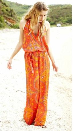 oranj derin dekolteli uzun elbiseler En Güzel Maxi Elbise Modelleri 13