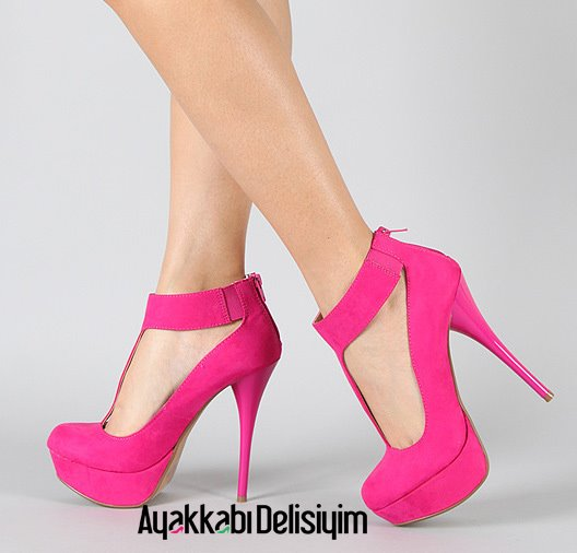 pembe bilekten kemerli platform topuklu ayakkabi modelleri En son Moda Platform Topuklu Ayakkabılar 3