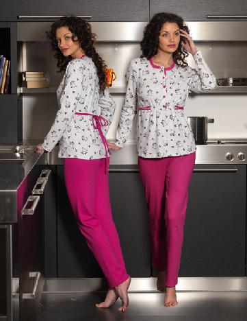 pembe pijamali beyaz bluzlu pijama takimlari En Güzel Bayan Penye Pijama Takımları 7
