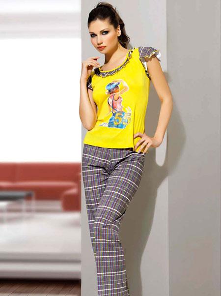 sari modern en guzel penye pijama takimlari En Güzel Bayan Penye Pijama Takımları 10