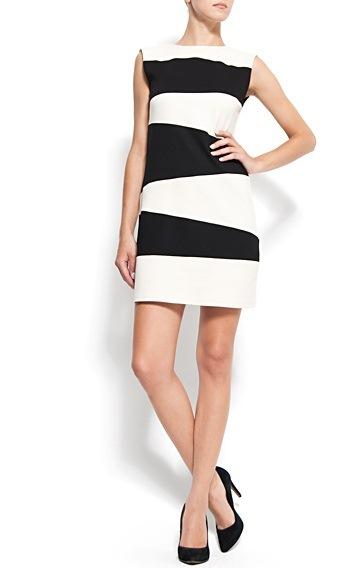 siyah beyaz cizgili kolsuz elbise Birbirinden Güzel Mango Bahar Koleksiyonu 14