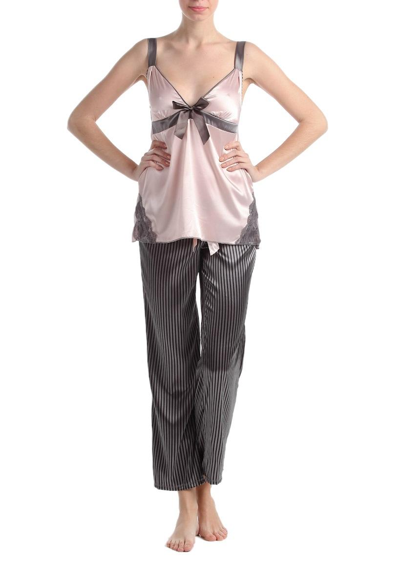 siyah cizgili pijama pembe ip askili saten pijama takimlari En Güzel İpek Pijama Takımları 9