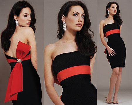 siyah kirmizi kemerli straplez mini elbise modelleri Yeni Trend Siyah Gece Elbiseleri 3