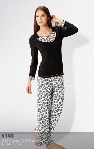 siyah penye model pijama takimi cesitleri En Güzel Bayan Penye Pijama Takımları 13