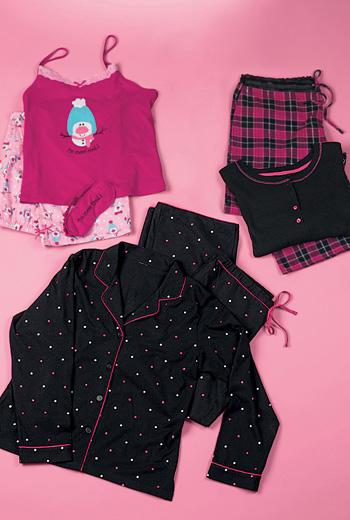 siyah puantiyeli ve pembe kareli pijama takimlari En Güzel Bayan Penye Pijama Takımları 14