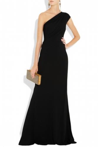 siyah tek omuz uzun gece elbiseleri Yeni Trend Siyah Gece Elbiseleri 9