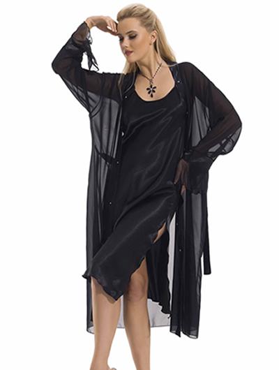 siyah tul sabahlikli saten gecelikler1 Sabahlıklı Saten Gecelik Takımı Modelleri 14
