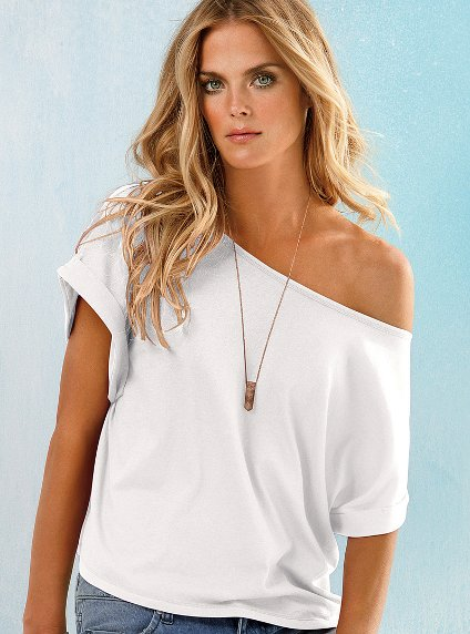 victoria Secret beyaz dusuk omuz t shirt modelleri Yeni Sezon Trend T-shirt Modelleri 19