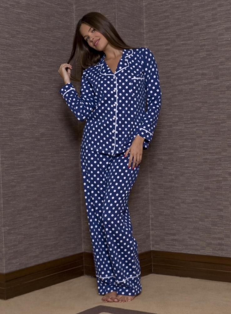 yeni inci mavi puantiyeli pijama takimlari En Güzel Bayan Penye Pijama Takımları 16