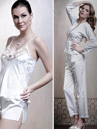 yeni trend ipek pijama ve sort takimli gecelikler1 Sabahlıklı Saten Gecelik Takımı Modelleri 19