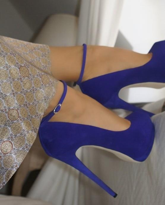 yeni trend mavi yuksek topuklu ayakkabi En son Moda Platform Topuklu Ayakkabılar 12