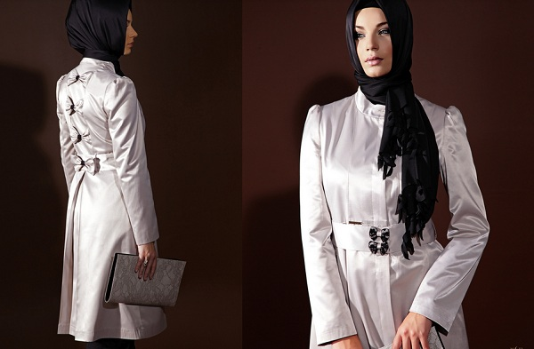 Beyaz Bayan Pardesuleri En Güzel Tesettür Giyim Modelleri 8