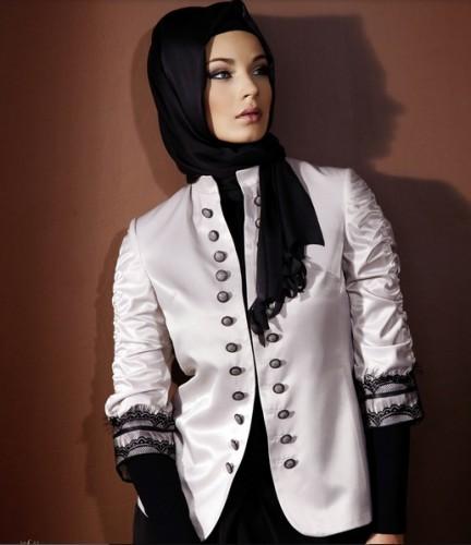 abiye siyah dantelli beyaz bayan ceket modelleri En Güzel Tesettür Giyim Modelleri 4