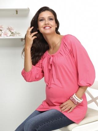 balon kollu pempe yuvarlak yaka hamile tunik bluz modelleri1 Trend Farklı Hamile T-Shirt Modelleri 9