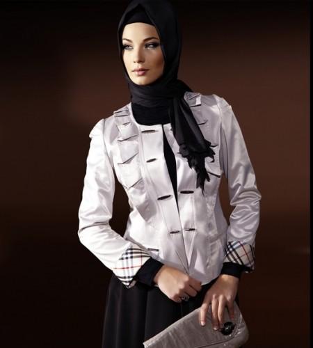 beyaz firfirli suslemeli bayan ceketler En Güzel Tesettür Giyim Modelleri 6