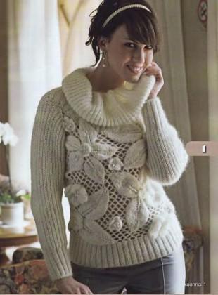 beyaz uzun kollu cicekli file kazak modelleri Yeni Sezon Örgü File Kazaklar Bluzlar 1