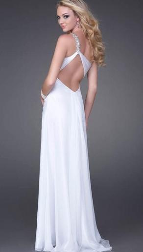 beyaz uzun sirt dekolteli abiye elbiseler En Güzel Dekolte Abiye Elbise Modelleri 6