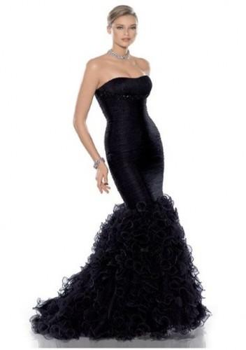 etegi firfirli straples gece elbisesi ornekleri Yazlık Trend Straplez Elbise Modelleri 20