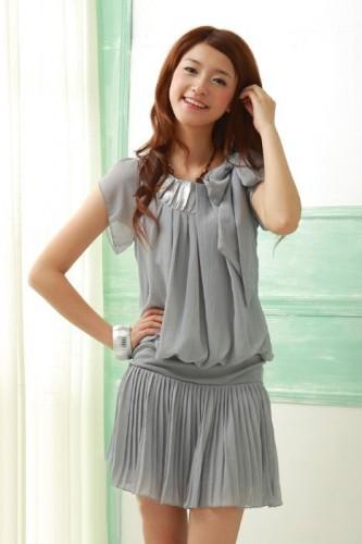 fiyonk suslemeli sifon elbise modelleri Yeni Sezon Yazlık Şifon Elbise Modelleri 23