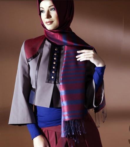 gri mavi mini ceket modelleri En Güzel Tesettür Giyim Modelleri 11